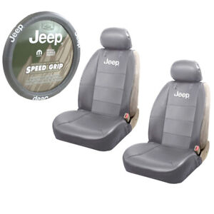 Jeep Gray Synthetic Leather Car Truck 2 Front Seat Covers Steering Wheel Cover