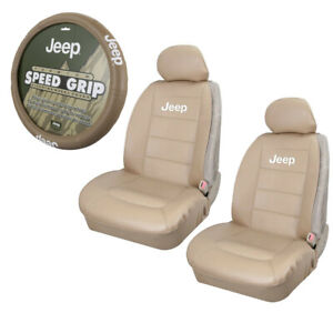 Jeep Tan Synthetic Leather Car Truck 2 Front Seat Covers Steering Wheel Cover