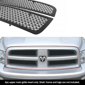 Fits 2009 2012 Dodge Ram 1500 Honeycomb Upper Stainless Black Mesh Grille Insert