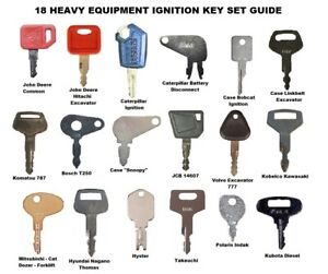 18 Heavy Equipment Construction Equipment Ignition Key Set Highest Quality Keys