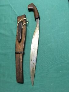 Antique Congo Top Decorated Tribal Iron Knife Sword With Wooden Handle