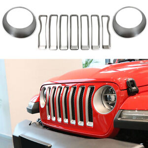 Grille Grill Ring headlight Turn Light Cover Trim For 2018 2019 Jeep Wrangler Jl