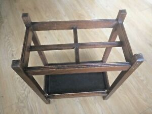 Old Antique Edwardian Period Oak Hall Umbrella 4 Port Stick Stand With Drip Tray