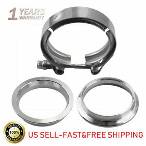3 Inch Stainless Steel 304 Turbo Exhaust Down Pip Vband Clamp W 2 Flange Flat
