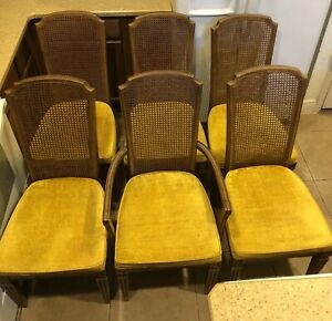 Set Of 6 Six Cane Back Yellow Cushions Dining Chairs High Back