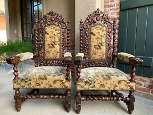 Pair 2 Antique French Carved Oak Barley Twist Dining Arm Chair Black Forest