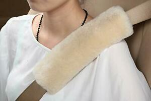 2pcs Authentic Sheepskin Auto Seat Belt Cover Shoulder Seatbelt Pad Car Suv