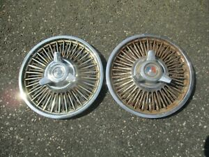 1963 Ford Galaxie 14 Inch Wire Spoke Spinner Hubcaps Wheel Covers Aftermarket