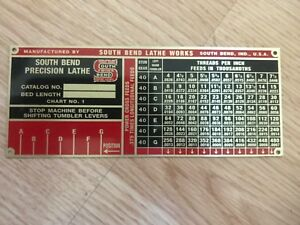 South Bend Lathe Reproduction Name Plates Heavy10 Wide Range Gearbox