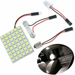 Car Interior 5050 Led White Light 48 Smd Lamp Panel T10 Festoon Dome Ba9s 5w 12v