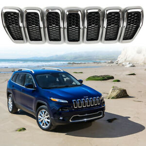 7pc Front Grille Grill Insert Chrome Ring Black Mesh For 2014 2018 Jeep Cherokee