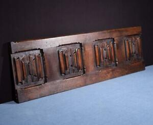 Antique French Gothic Revival Panel In Oak Wood Salvage With Linen Fold Carving