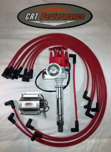 Chevy 327 350 Small Hei Distributor Red 60k Coil Wires Under Exhaust Usa