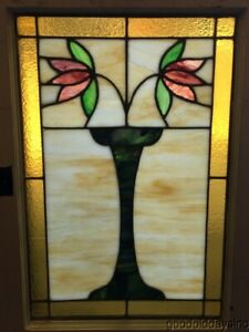 Antique Classic Chicago Bungalow 2 Flower Stained Leaded Glass Window 29 X 20