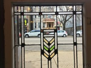 1 Of 2 Antique Prairie Style Stained Glass Door Window From Chicago 45 By 24