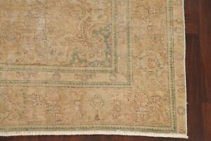 Antique Worn Area Rug Distressed Oriental Wool Carpet Gold Brown Hand Made 6x10