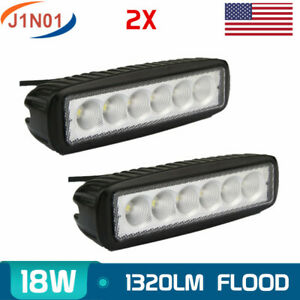 2x 6inch 18w Led Work Light Bar Flood Pods Offroad Driving Ute Atv Lamp Tractor