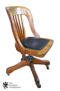Milwaukee Chair Co Arts Crafts Mission Oak Adjustable Rolling Leather Seat