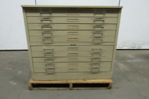 Mayline C file 10 Drawer Blueprint Plans Map Art Architect Flat Filing Cabinet