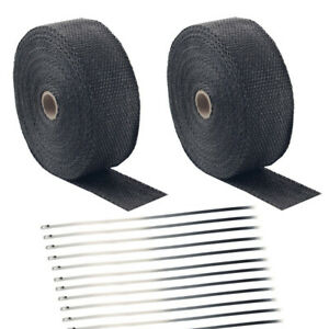 2 Roll X 50ft Fiberglass Heat Wrap Tape 20 Ties For Car Motorcycle Exhaust Pipe