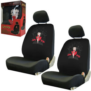 New York Skyline Betty Boop Car Truck 2 Front Seat Covers With Headrest Covers