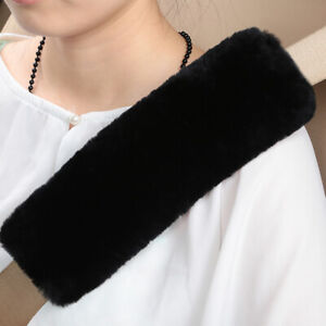 Black Car Seat Belts Covers 2 Pack Wool Sheepskin Seatbelt Shoulder Pad Covers