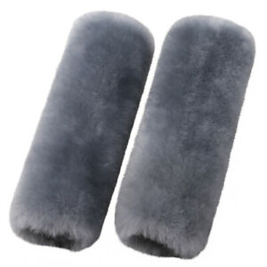 Blue Grey Car Seat Belts Covers 2 Pack Sheepskin Seatbelt Shoulder Pad Covers