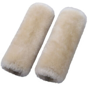 Pearl Color Car Seat Belts Covers 2 Pack Sheepskin Seatbelt Shoulder Pad Covers