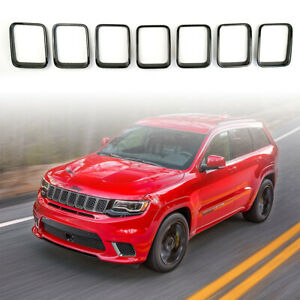7pc Gloss Black Grill Rings Inserts For Grand Cherokee Trackhawk Srt 2017 2019