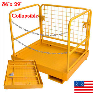 Heavy Duty Forklift Safety Cage Work Platform Collapsible Lift Basket 36 x 29
