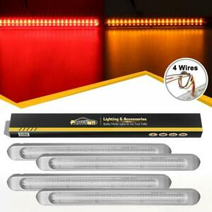 4xclear 24 Red 23 Amber Led 17 Chrome Truck Trailer Stop Turn Tail Light Bars
