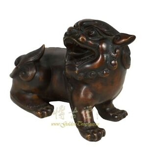 Vintage Chinese Bronze Foo Dog Statue