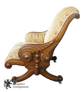1860 S Antique American Empire Victorian Walnut Burl Carved Lounge Chair Winged