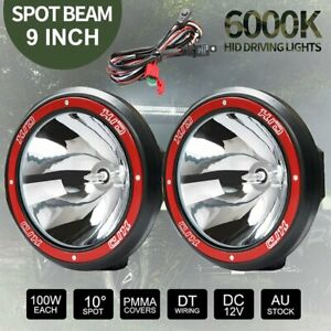 2x 9 Inch 100w Hid Driving Lights Xenon Spotlight Offroad 4wd Truck Ute 12v Ze