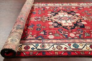 Vintage Red Bakhtiari Persian Oriental Area Rug Hand Knotted Wool Carpet 4 X 7
