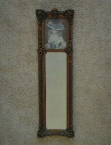 19th C French Portrait Trumeau Mirror Young Lady Antique Victorian Gilt Wood