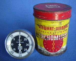 Vtg Stewart Warner 757 W Hand Held Tachometer Curved Glass Tin Can Hot Rod Shop