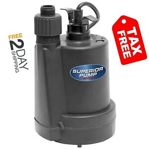 Superior Pump 91250 1 4 Hp Thermoplastic Submersible Utility Pump With 10 foot