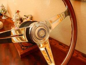 Mercedes 560sl Wood Steering Wheel Nardi 15 3 Small Ivory Horn Button New