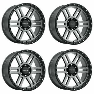 Set 4 18 Vision Off Road 354 Manx 2 Grey Wheels 18x9 5x5 5 12mm Lifted Truck