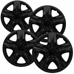 4 Pc Hubcaps Fits Select Auto Truck Suv 16 Ice Black Replacement Wheel Cover