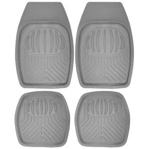 Car Floor Mats For All Weather Rubber 4pc Set Pan Tech Fit Heavy Duty Grey