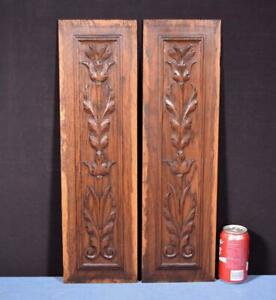 Pair Of French Antique Carved Panels In Oak Wood Salvage