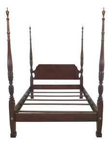 47450ec Ethan Allen Queen Size Rice Carved Cherry Poster Bed