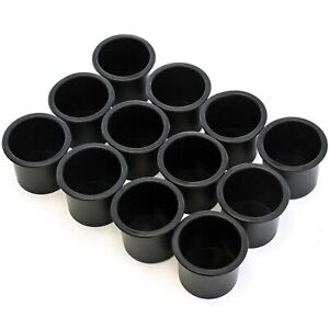12 Black Plastic Cup Holder Boat Rv Car Truck Inserts Universal Size