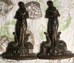 Antique Bronzed Metal Art Nouveau Deco Half Nude Woman Dolphin Koi Bookends