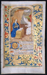 Medieval Illuminated Manuscript Book Of Hours Leaf Annunciation Miniature