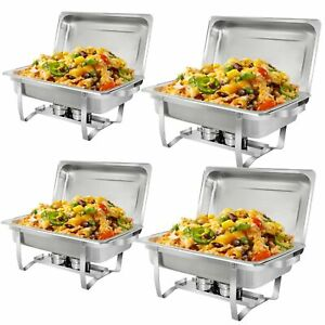 Super Deal 8 Qt Stainless Steel 4 Pack Full Size Chafer Dish W water Pan Foo