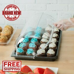 Roll Top Black Tray Countertop Display Acrylic Bakery Donut Pastry Sample Case
