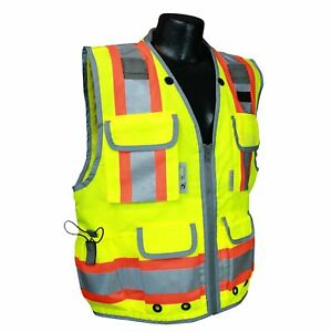 Radians Class 2 Heavy Duty Engineer Safety Vest With Pockets Yellow lime